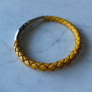 Other - Braided Mustard Leather Bracelet Click Closure